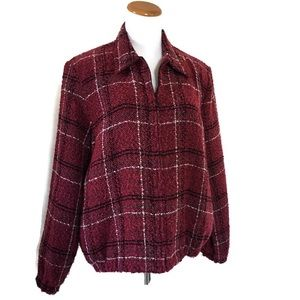 Alfred Dunner Burgundy Plaid Boucle Jacket Sz 12P